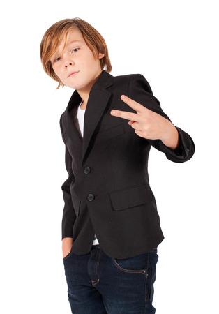 blonde boy: blonde boy making the peace sign
