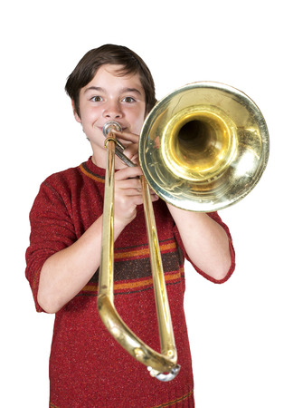 portrait of a boy playing the trombone