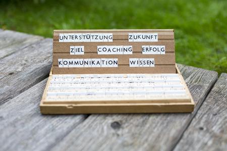 a letterbox with the german words:Unterstützung Zukunft Ziel Coaching Erfolg Kommunikation Wissen photo