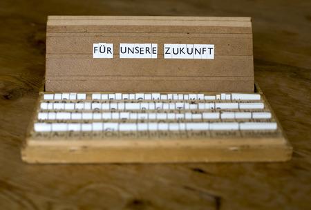 a letterbox with the german text:  Für unsere Zukunft photo