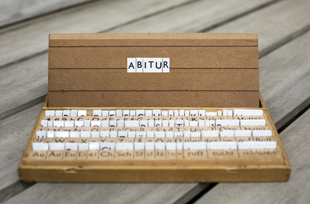 abi: a letterbox with the german word:  Abitur Stock Photo