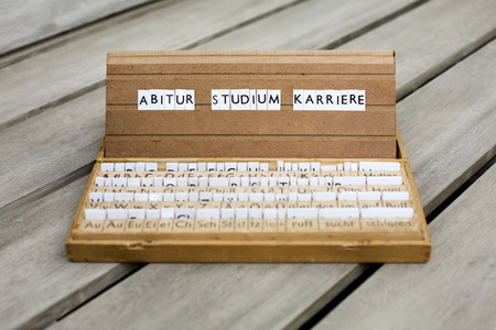 abi: a letterbox with the german words: \Abitur Studium Karriere\ Stock Photo