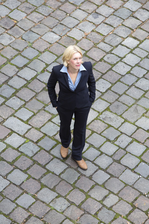 birdseye view: birds-eye view of a businesswoman walking on the streets