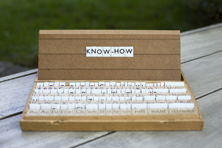knowhow: the words know-how on an old school letter box