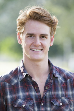flannel: portrait of a handsome man in a flannel shirt