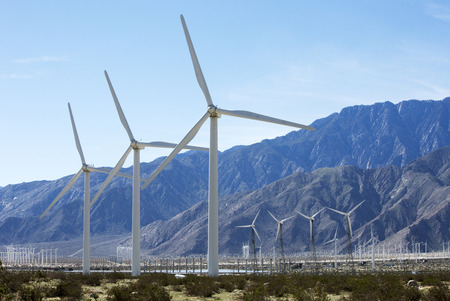 wind turbines in the desert outside of Palm Springs, California