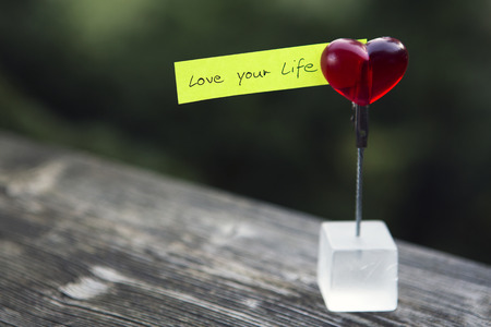 life coaching: handwritten quote love your life on paper clipped on a heart Stock Photo