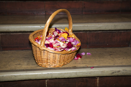 flowergirl: basket full of petals sitting on stairs