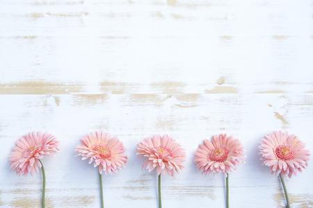 mooie roze gerbera opgesteld in een rij op een witte uitstekende houten achtergrond Stockfoto