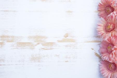 白いヴィンテージの木製の背景側に美しいピンク ガーベラ