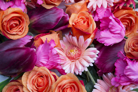 beautiful mix flowers with roses and gerberas tulip