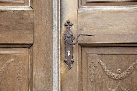 Vieille Porte DEntre En Bois Avec Poigne De Porte Antique Banque