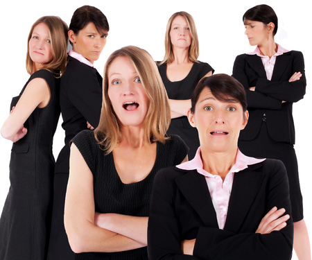 helpless: multiple faces of two businesswomen being angry and helpless