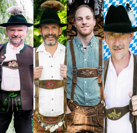 variation: variation of men wearing traditional bavarian clothes Stock Photo