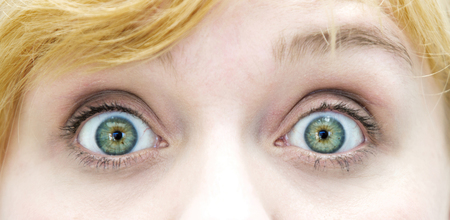 closeup of the eyes of blond woman Stock Photo