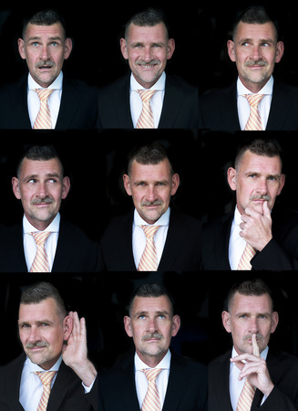 multiple images: variation of face expression of businessman Stock Photo