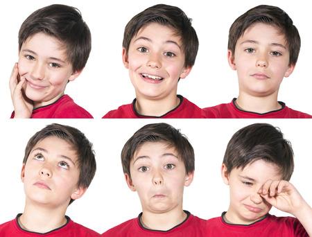 variatie van de gezichtsuitdrukkingen van jonge jongen Stockfoto