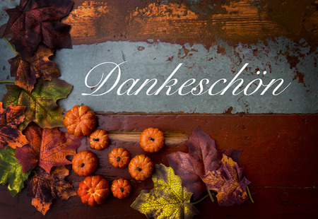 German word 'Thank You' thank you on old vintage wood with pumpkins and leaves