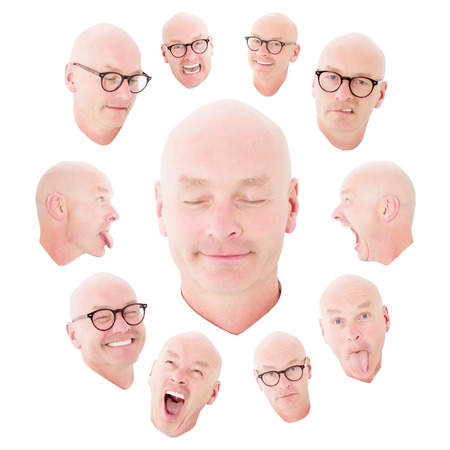one people: variety of funny expressions of a bald man