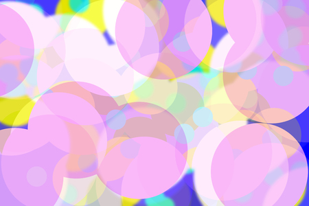 Circles on soft beautiful pink, yellow and blue tone color background