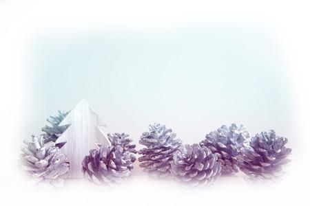 pinecones: white pinecones and miniature toy tree