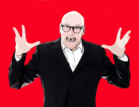 enraged: pop art portrait of man in a suit yelling with red background