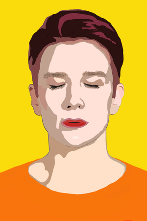 serious: pop art portrait in yellow and orange of woman with eyes closed Stock Photo