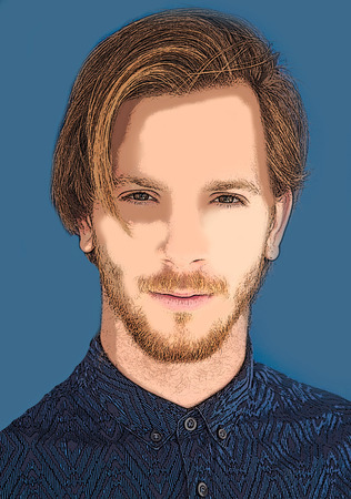 unshaven: portrait of red-haired young man  - illustration Stock Photo