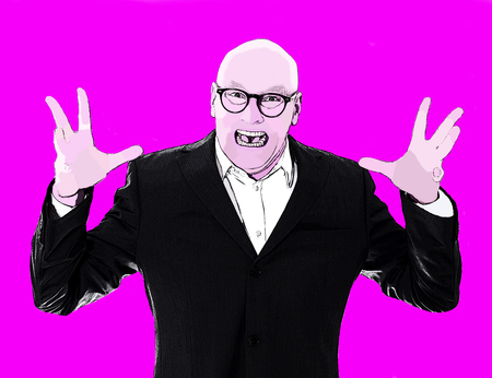 yelling: pop art portrait of man in a suit yelling with pink background