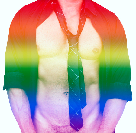 sexy gay: sexy muscular male torso and rainbow colors for gay pride