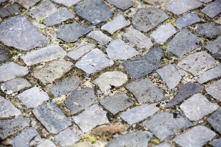 cobblestones: close up of sidewalk with grey cobblestones Stock Photo