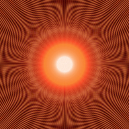 red halo effect with shiny rays and bright light in the center Stock Photo