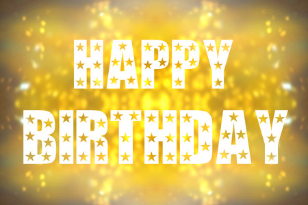 Happy Birthday written on golden background with yellow stars