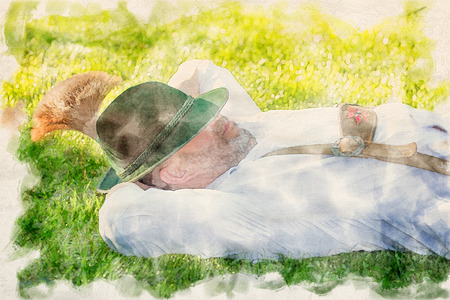 man in traditional bavarian clothes sleeping outside in the grass in watercolors