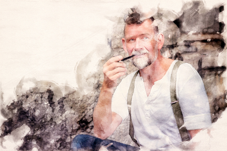 portrait of handsome bearded man in his 50s smoking a pipe in watercolors Stock Photo