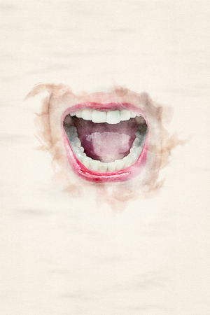 close-up of womans laughing mouth with red lips in watercolors