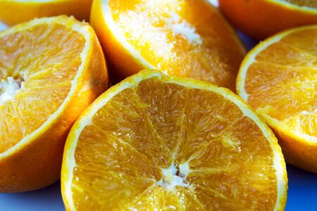 Close-up of plate with slices of oranges
