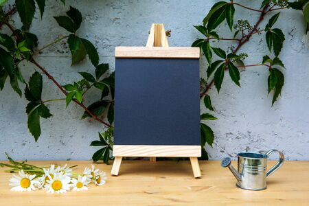 small blackboard on wooden table with daisies and miniature watering can