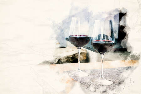 close-up of two glasses of red wine on table in watercolors