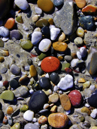 quarz: Close up of colorful pebbles on the beach Stock Photo