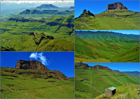 kwazulu natal: Collage of Drakensberg Mountains in South Africa Stock Photo