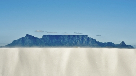Landscape with white sand dune and Table mountain in the background photo