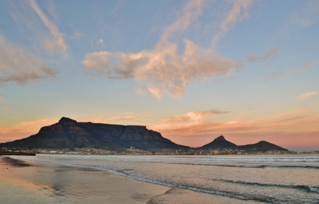 Landscape of Cape Town and Table Mountain at sunrise photo