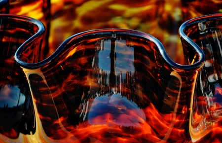 amber coloured: Close up of amber colored glass bowl Stock Photo
