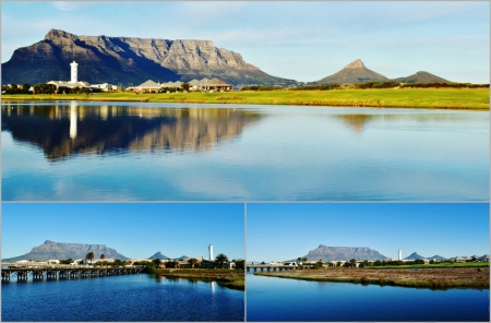 Collage ofLandscapes of Milnerton lagoon with Lighthouse and table mountain in the background photo