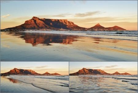 Collage von Landschaften von Kapstadt und den Tafelberg bei Sonnenaufgang Standard-Bild