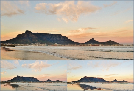 Collage of Landscapes of Cape Town and Table Mountain at sunrise photo