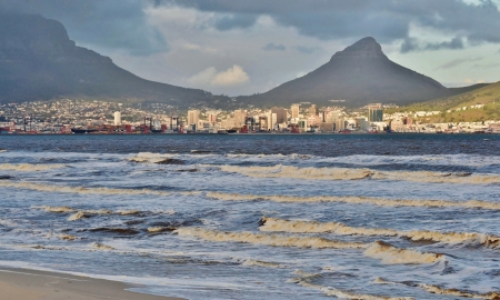 Seascape with ocean and Table Mountain in the background photo