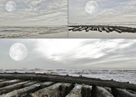 Seascape collage with full moon over Atlantic ocean