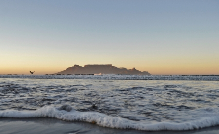 Landscape with beach and Table Mountain photo